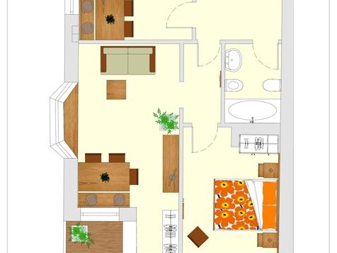 Apartment D2 - 2-4 Personen - 55m²-5