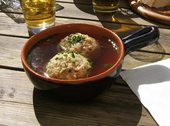 Bacon dumplings with soup