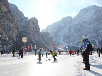 Curling on Lake Pragser Wildsee
