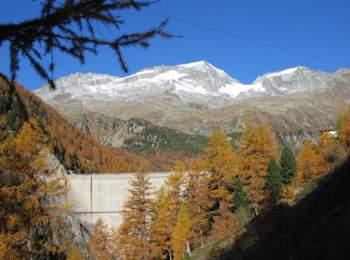 Dam of Neves reservoir in Mühlwald
