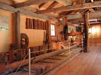 Historical saw in Schlern-Rosengarten visitor centre