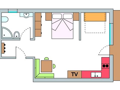 Einraumappartement Nr. 5 – 40 m² im 1. Stock-1