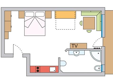 Einraumappartement Nr. 1 – 35 m² im Parterre-7