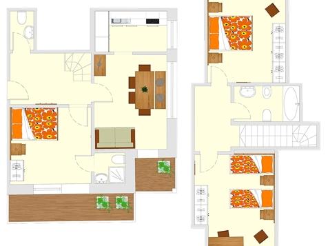 Apartment F1 + F2 - 5 Personen - 75m²-8
