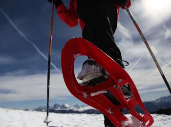 Snow-shoe hiking on Ritten