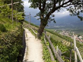 "Soputh Tyrolean ""Waalweg"" path with magnificent view with"